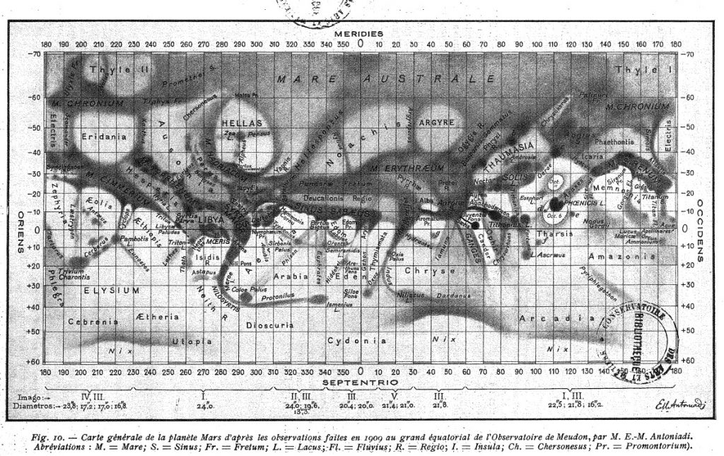 Antoniadi's Maps of Mars (1898-1930)