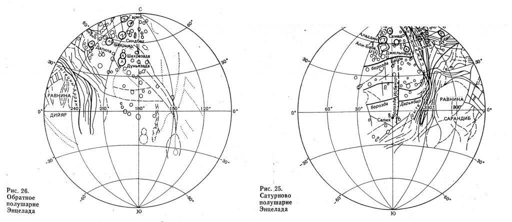 G.A. Burba's Enceladus Map with Nomenclature