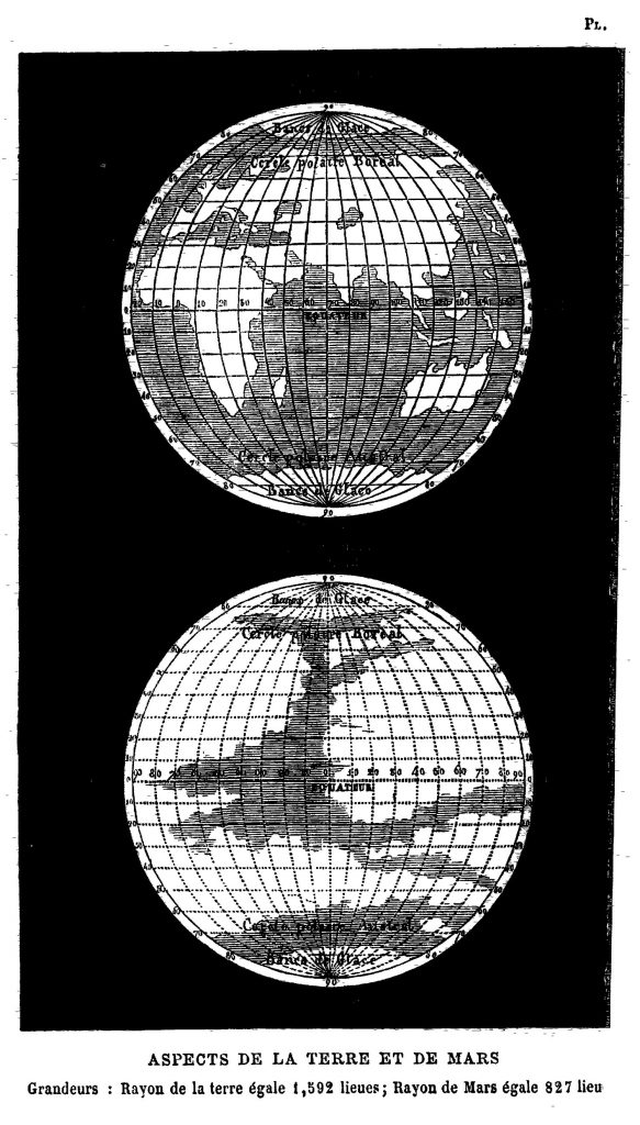 Comparative map of Earth and Mars (Flammarion 1869)