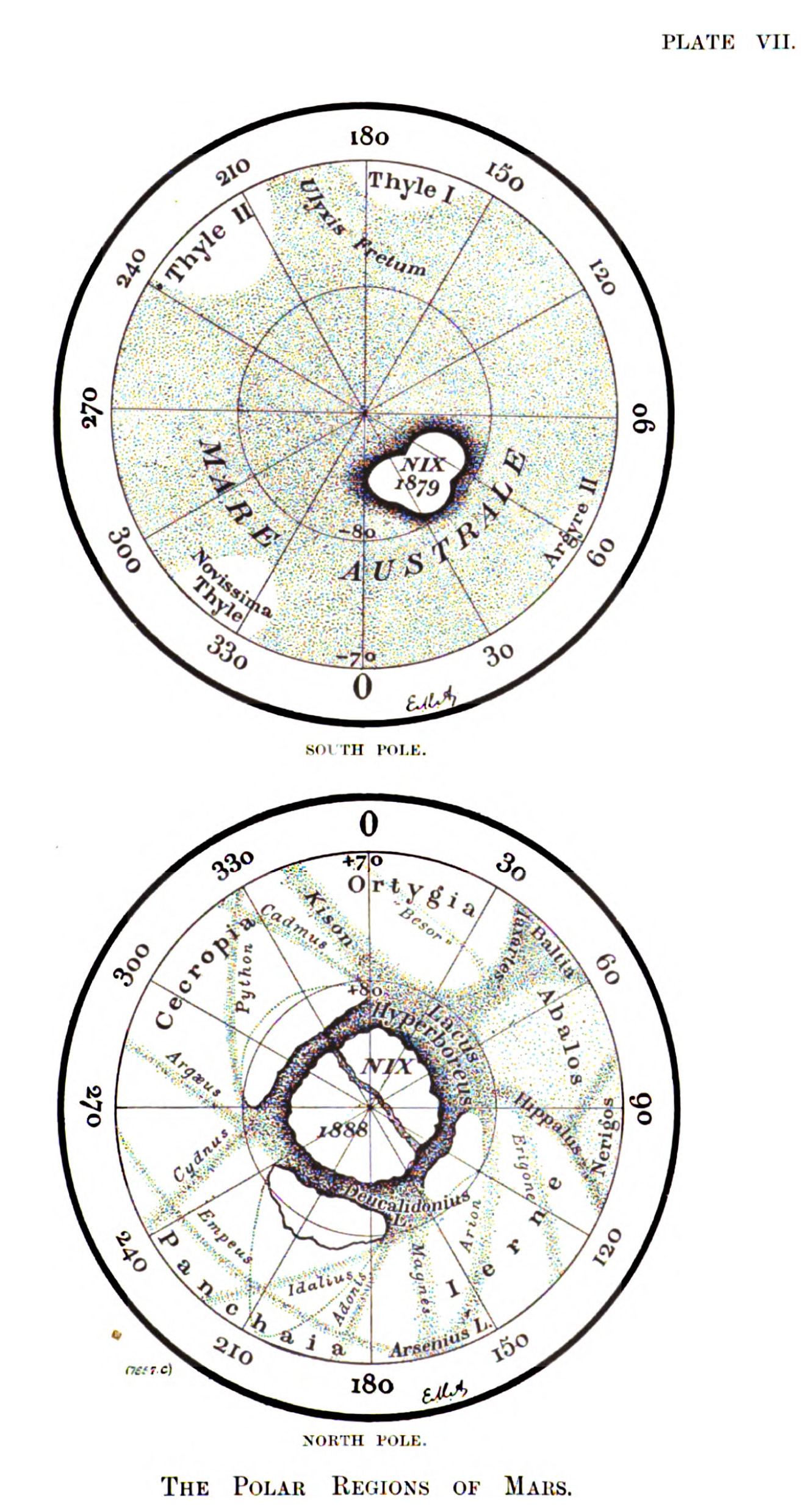 Antoniadi's Polar Maps of Mars 1900-1901