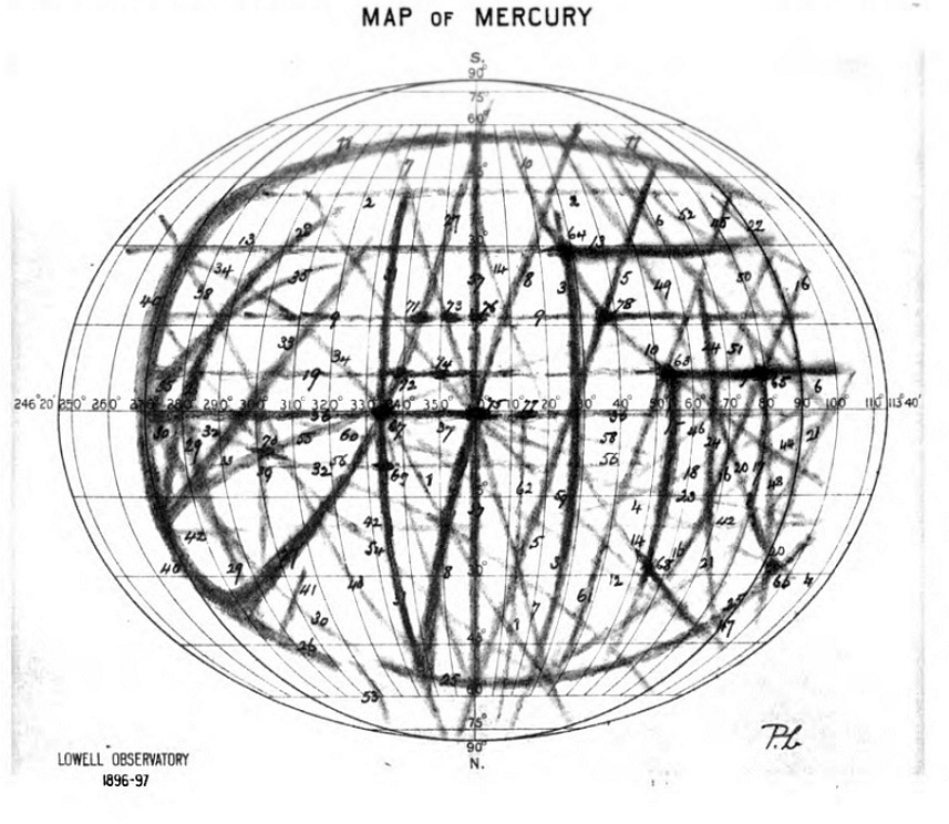 Lowell's map of Mercury (1902)
