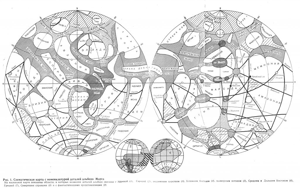 G.A. Burba's Albedo map of Mars