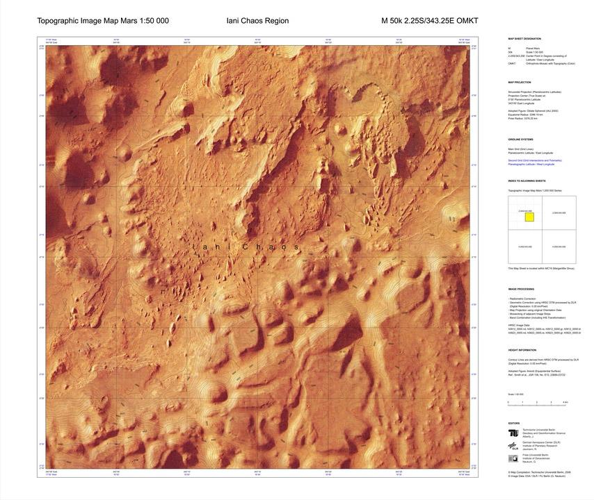 Topographic Image Map Mars series (TU/DLR/FU Berlin)