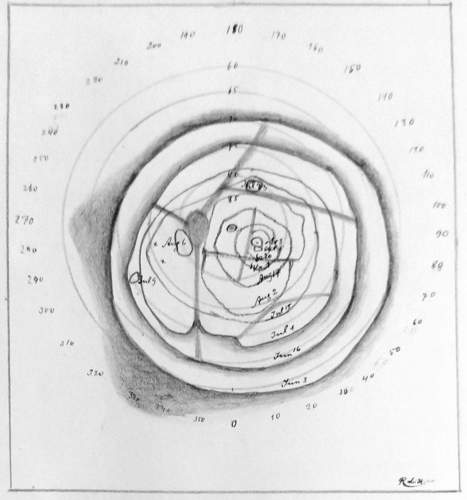Lukács's Copy of Lowell's Map of the Polar cap of Mars (1904)