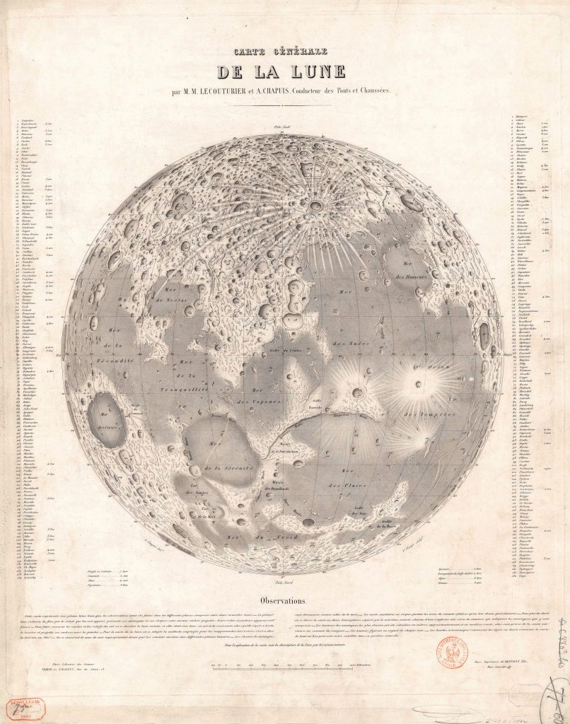 Lecouturier – Chapuis map of the Moon (1860)