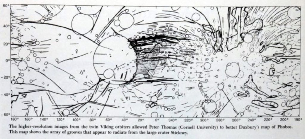 Early sketch maps of Phobos (1989)