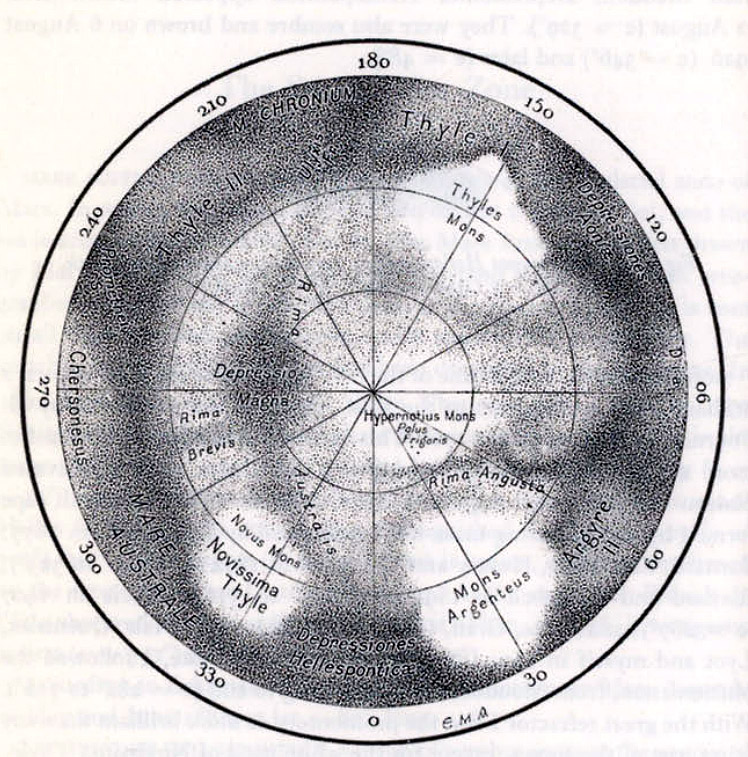 Antoniadi's Mars Cloud maps (1930) (south pole)