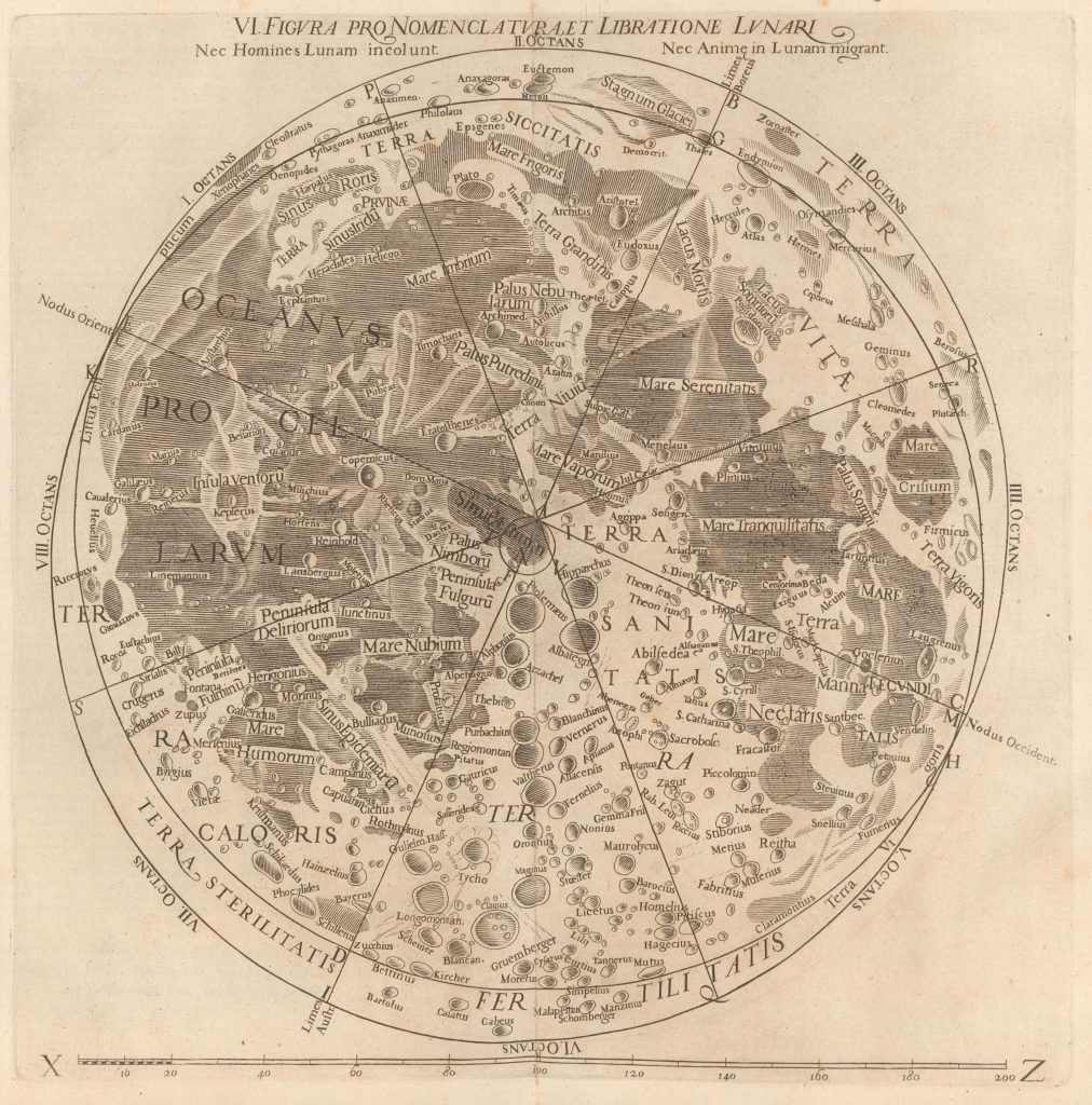 Grimaldi's map of the Moon (1651)