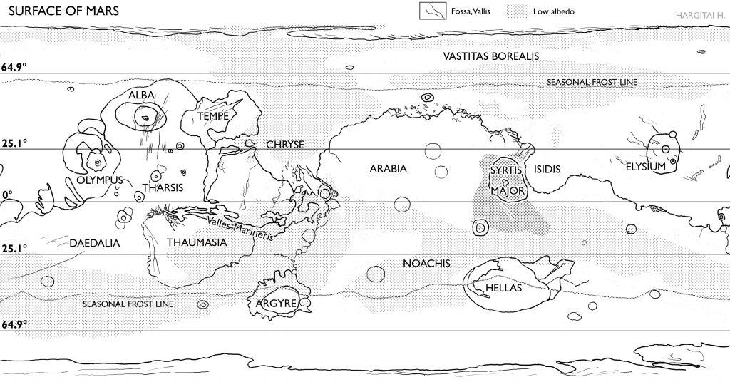Blank map of Mars
