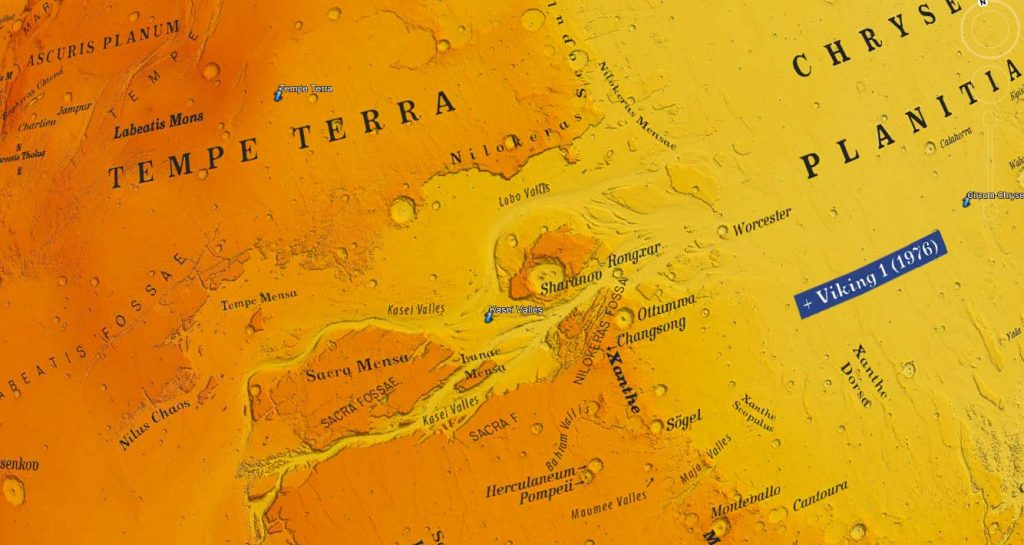 Topographic Globe of Mars and Topographic Map of Mars (with names)