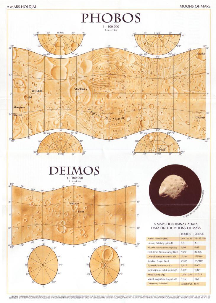 Map of Phobos and Deimos, Central European edition (2006)