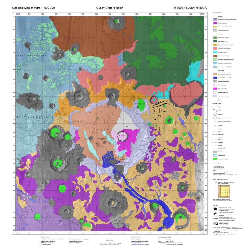 Geologic map of the Gusev crater Region / Geologic Map of Mars series (DLR/TU/FU Berlin)