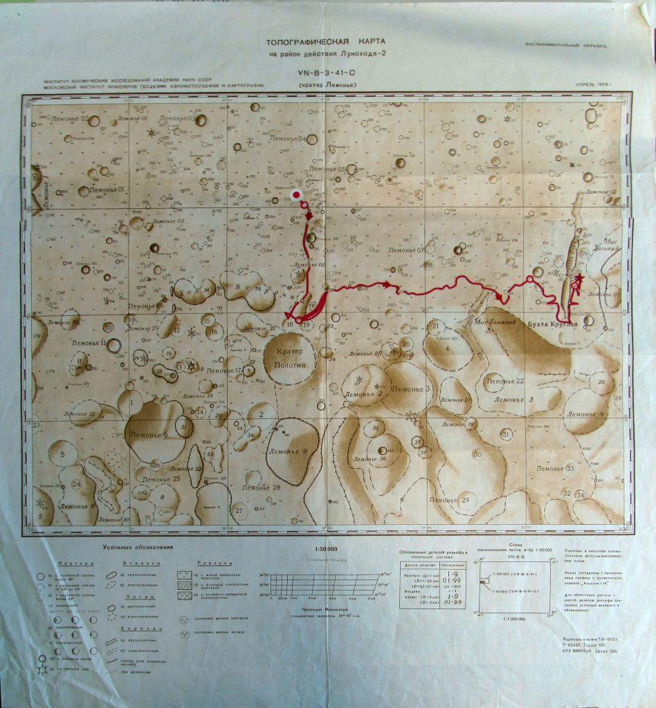 Lunokhod-2 traverse map