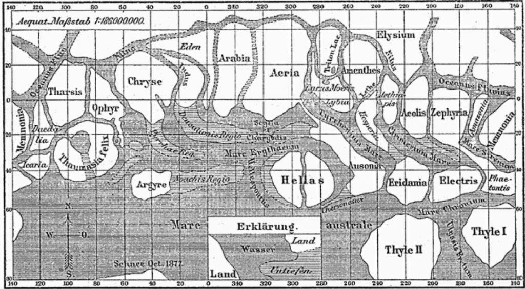 Meyers Konversations-Lexikon map of Mars (1888)