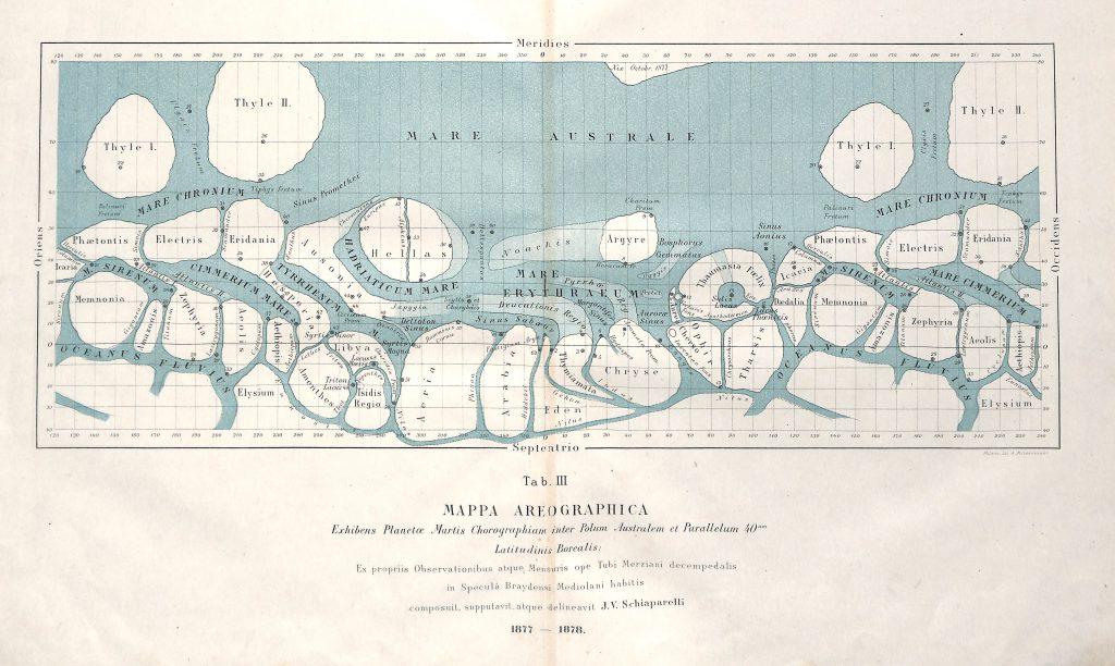 Mars Maps by Schiaparelli (1877-1890)