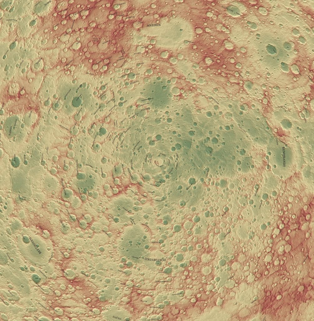Topographic map of Mercury with names