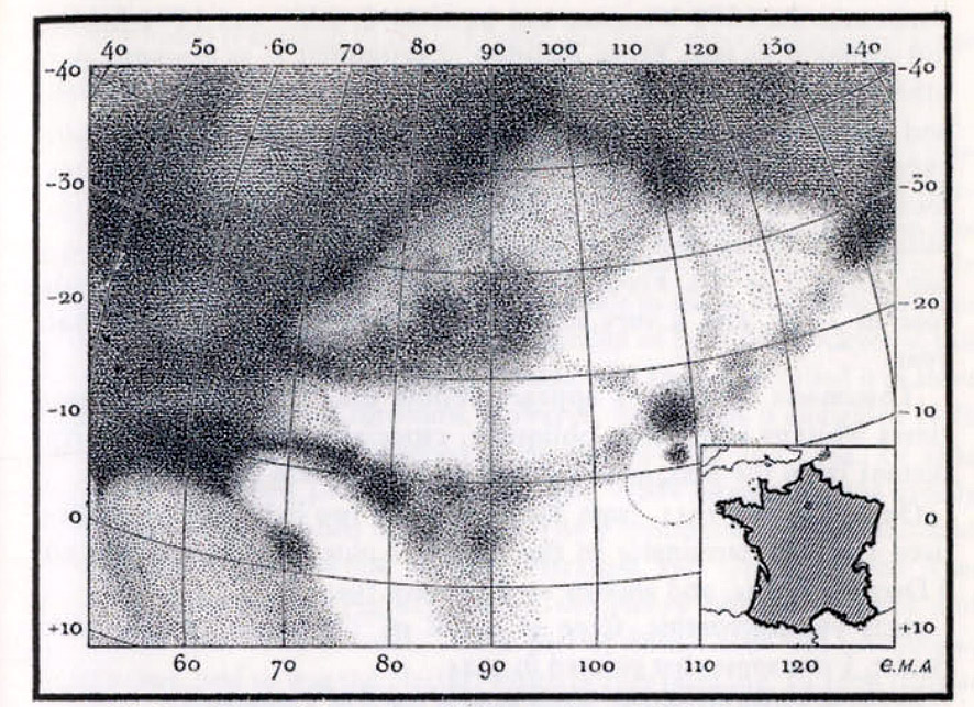 Mars compared to France map (Antoniadi 1930)