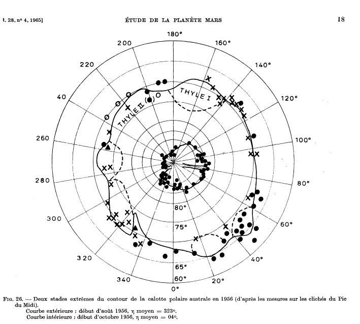 Dollfus' Mars Polar Cap Map 1956